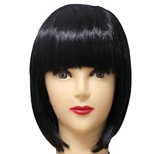 [ETOSELL Women Short BOB Hair With Straight Bangs Cosplay Full Wigs Black] (Black Bob Wig With Bangs)