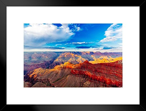 Mather Point Grand Canyon National Park Arizona Photo Matted Framed Wall Art Print 26x20 inch