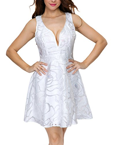 LOSRLY Women Sexy Backless Lace Skater Flare Cocktail Party Dress PRIME White L 12 14 (White Dress For Teenager)