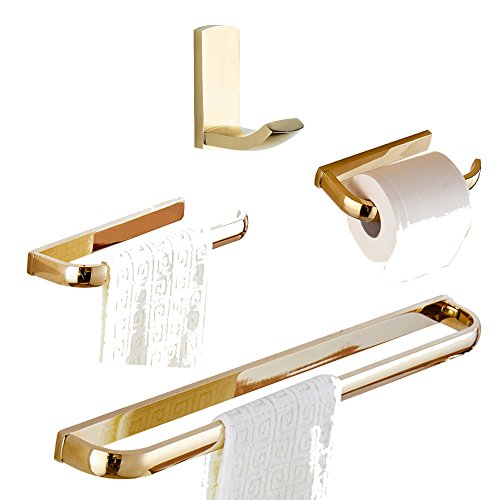 WINCASE 4 Pieces Polished Gold Bathroom Accessory Sets, Solid Brass Construction Wall Mounted Robe Hook Towel Bar Towel Ring Paper Holder by WINCASE (Image #1)
