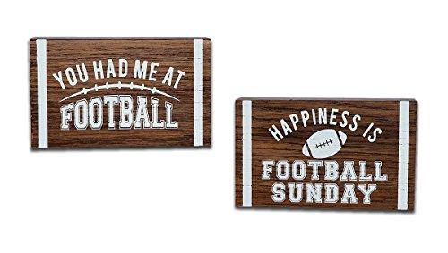 Set of 2 Football Sports Fan Sayings 5x3