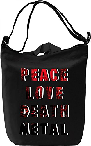 Peace Love Death Metal Borsa Giornaliera Canvas Canvas Day Bag| 100% Premium Cotton Canvas| DTG Printing|