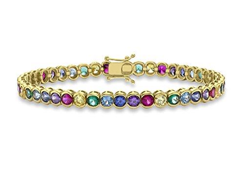 """Jewellery World Bague en or jaune 9carats Multicolore ronde Transparent Pierre de Tennis Bracelet 19cm/7,5"""""""