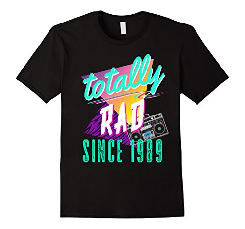 Mens Totally Rad 80s Throwback T-Shirt - Funny 1989 Birthday Tee Large (80's Fitness Costumes Men)