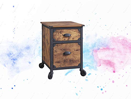 - GUPLUS-2 Drawer Rustic Country File Cabinet, Weathered Pine Finish Two drawers with metal runners and safety stops Finished on all sides for versatile placement Fixed wheels Lower drawer holds letter-