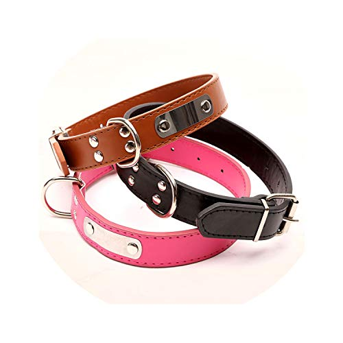(ZZmeet Pet Dog Collar Leather Iron Collar May Lettering Simple and Durable Affordable Dog Supplies Leather Small Big Large Dog Collar,Blue,M 20mm x 47cm)
