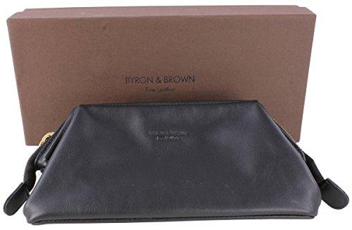 Negro de cuero Nappa medio de lavado bolsa de Byron and Brown