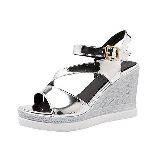 Mee Shoes Damen Lackleder Schnalle Keilabsatz Sandalen Silber
