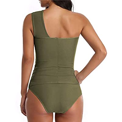 Tempt Me Women Tankini Ruched One Shoulder Tummy Control Top High Neck Swimsuits at Women's Clothing store