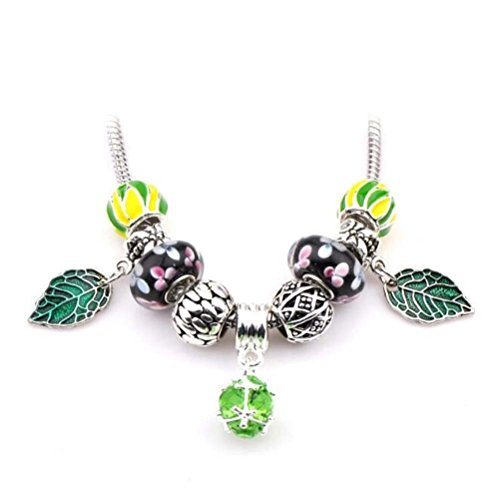 The Starry Night Fashion Black Glass Beads Light Green Round Pendant Leaf Necklace (Leap Pad Games Ninja Turtle)