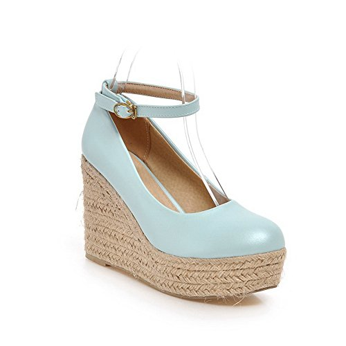 BalaMasa Girls fibbia high-heels Solid Knit corda pumps-shoes, Blu (Blue), 35