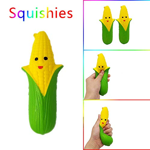 Sagton Slow Rising Stress Reliever Toys,Cartoon Smiley Corn Jumbo Squishies Scented -