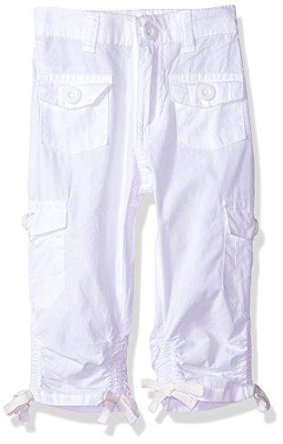Limited Too Big Girls' Fleece Pant, Scrunchy Hem Poplin Cargo Capri White, 12