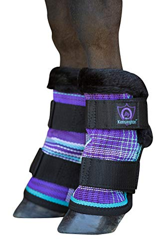 (Kensington Mini Fly Boots with Comfortable Fleece Trim - Lavender Mint - Stay-Up Technology — Protection from Insect Bites and UV Rays — Set of 4)