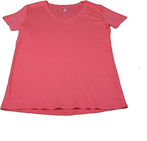 Kirkland Signature Womens Size X-Large V-Neck Cap Sleeve Cotton T-Shirt, Coral