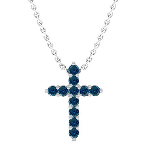 0.45 Carat (Ctw) 14K White Gold Blue Diamond Ladies Cross Pendant 1/2 CT (Silver Chain Included)