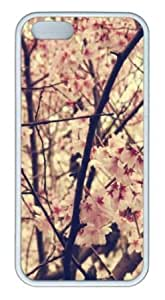 Apple iPhone 5S Case,iPhone 5S Cases - Cherry Blosso 44 TPU Custom iPhone 5S Case Cover for iPhone 5S - White