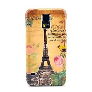 TY-Famosa Torre Eiffel con el patrón del pájaro cubierta del estuche rígido para Samsung Galaxy i9600 S5