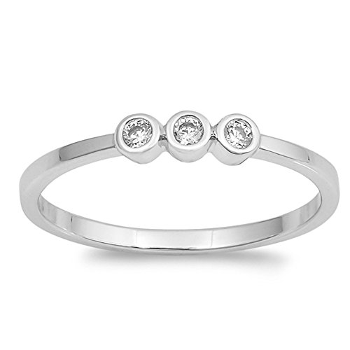 Clear Bezel Set Cubic Zirconia Stackable Ring Rhodium Plated 925 Sterling Silver Size 9