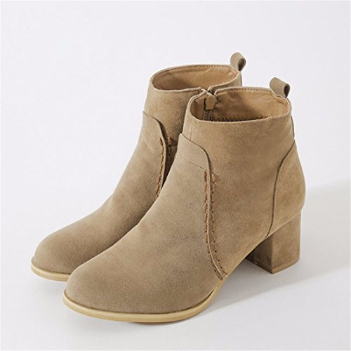 in autumn boots and Short zipper short yellow lady heel size big sleeve winter xwO8aHAq