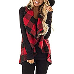 Womens Waistcoat Duseedik Vest Plaid Sleeveless Lapel Open Front Cardigan Sherpa Jacket Pockets Coat