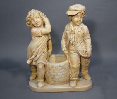 Estatua Jardín Figura Niña y niño con cesta de hormigón de piedra Piedra figuras Estatua de jardín Figura decorativa Escultura de jardín: Amazon.es: Hogar