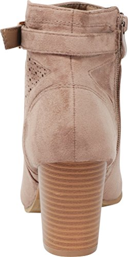 Strap Taupe Ankle Stacked Bootie Cambridge Nbpu Heel Buckled Select Laser Chunky Cutout Perforated Women's q1vtwf7