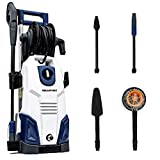 Blaupunkt Induction Pressure Washer PW7000-165 bar 2100W High Power AC Electric Aluminium Pump - Long 8m Hose - with Hi/Lo Pressure Nozzle, Turbo Nozzle and Car Cleaning Accessories Kit