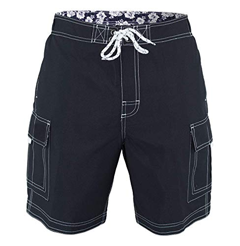 (US Apparel Men's Solid Color Cargo Style Microfiber Board Shorts, Charcoal, XX-Large)