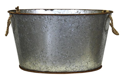 Bath in Tin Planter with Rope Handles Keyhomestore