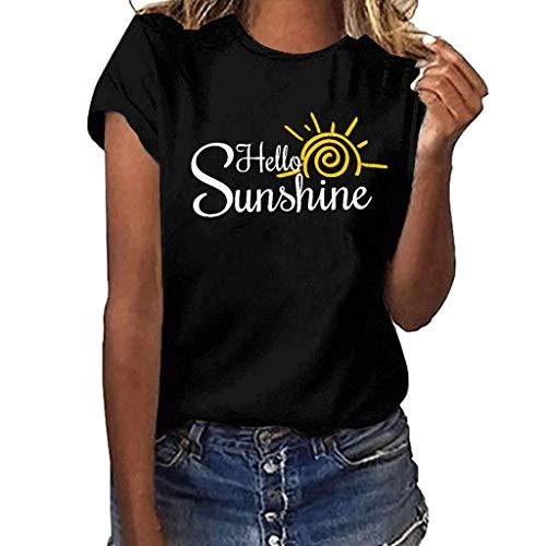 JustWin Women's Letter Print T-Shirt Girls Plus Size Short Sleeve T Shirt Round Neck Blouse Tops ()