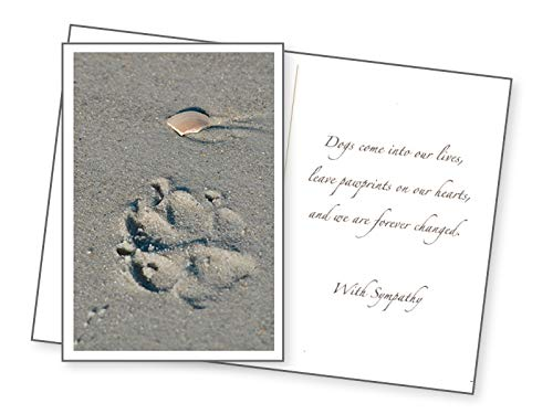 - Dog Speak, Paw Print in the Sand Sympathy Card