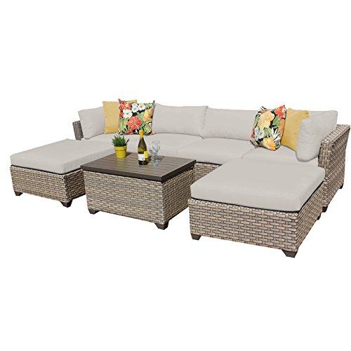 TK Classics Monterey 7 Piece Outdoor Wicker Patio Furniture Set 07b, Beige