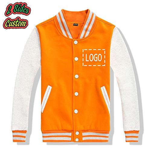 Design Letterman Baseball Jacket Varsity — Custom BTS Baseball Uniform Bangtan Boys Suga Jin Jimin Jung Kook Sweater Coat (Orange, L) for $<!--$32.99-->