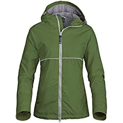 OutdoorMaster Womens' Rain Jacket - with Waterproof Hood & Reflective Stripes (Olive,M)