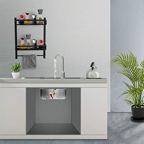 sin espacio de clavos autoadhesivo aluminio Estanter/ía de ducha sin taladrar sin da/ños y durabilidad se utiliza en ba/ño y cocina. acabado mate