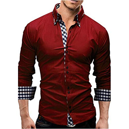 (Men's Business Cotton Slim Shirt - Solid Colored Spread Collar/Long Sleeve/Spring/Fall/Work,Red,M)