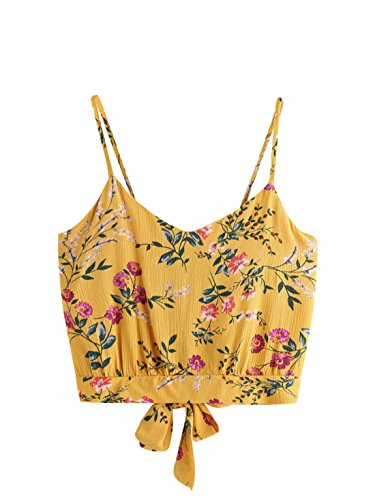 elf Tie Back V Neck Crop Cami Top Camisole 1-Yellow one-Size ()