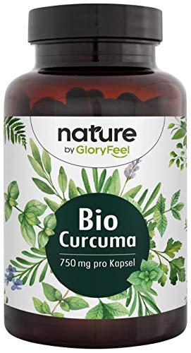 🥇 GloryFeel® Cúrcuma orgánica – 240 Cápsulas veganas – 4602mg Cúrcuma orgánica original + Pimienta negra orgánica – Mayor contenido de curcumina