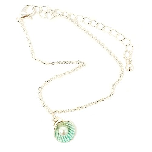 Emulily Pearl Colored Metal Shell Charm Anklet Sea life Theme (Mint) -