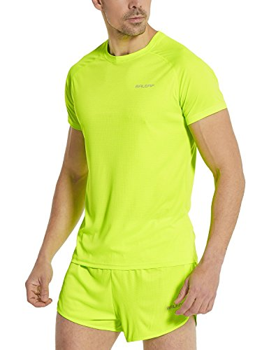 Baleaf Men's Quick Dry Short Sleeve T-Shirt Running Fitness Shirts Neon Yellow Size L