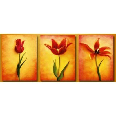 Ode-Rin Christmas Hand Painted Oil Paintings Gift Gradually Blossom 3 Panels Wood Inside Framed Hanging Wall Decoration