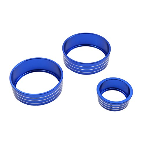 uxcell 3pcs Blue Air Condition Audio Switch Decorative Ring Set for Honda City XRV by uxcell (Image #1)