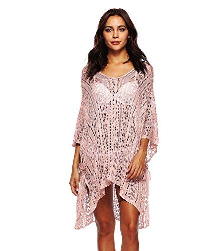 Spacco Taglie con Scollo Vestiti Up Mare Donna Bikini Uncinetto Spiaggia Tops Cover Forti Copricostume Rosa V da Abito PassMe Beachwear w74fqPvxgn