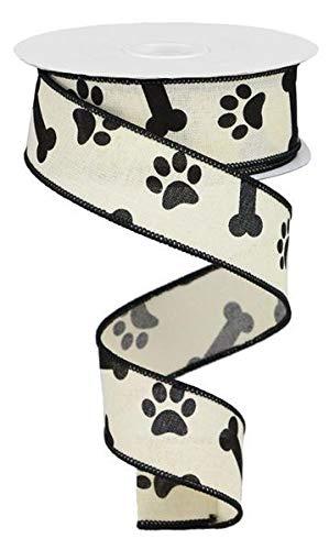 Flannel Ivory Ribbon - Paw Print & Dog Bone Wired Edge Ribbon, 10 Yards (Cream, Black, 1.5