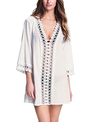 MiYang Women's Floral Lace Beach Bikini Swimwear Cover-up, White, X-Small(US Size 0-4) ()
