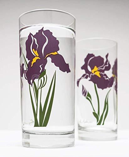 - Purple Irises - Set of 2 Iris Glasses, Gift for Mom, Gift for Her, Iris Glassware, Purple Iris