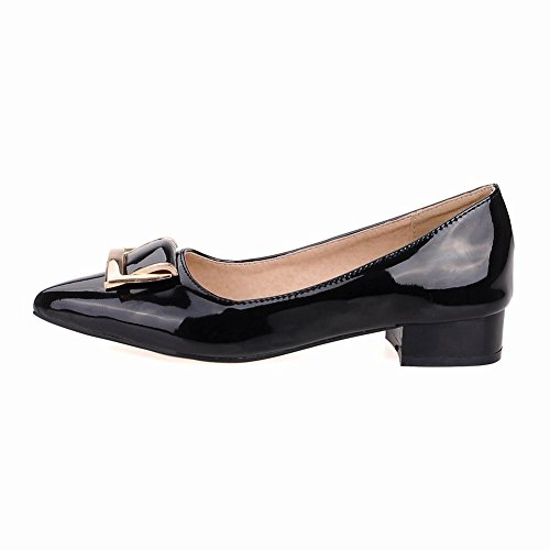 Charm Foot Womens Fashion Patent Leather Low Heel Pumps Shoes Black JFpoSDBoq