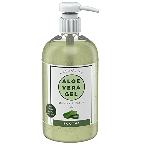 Calily Life Organic 99% Aloe Vera Gel for Skin, Apply to Face, Hands & Body, 16.9 Fl Oz. – Powerful Moisturizing, Soothing, Antioxidant & Antibacterial - Great for Dry Skin, Acne, Eczema, Rashes, etc.