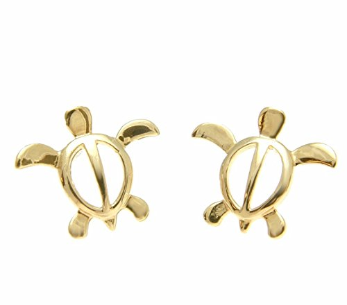 14K solid yellow gold shiny Hawaiian medium honu turtle stud post earrings by Arthur's Jewelry